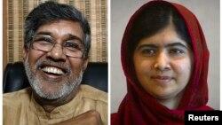 Hai khôi nguyên giải Nobel Hòa bình năm 2014 là nhà hoạt động cho quyền trẻ em người Ấn Độ, ông Kailash Satyarthi, trái, và nhà hoạt động giành quyền giáo dục cho trẻ em gái ở Pakistan, cô Malala Yousafzai.