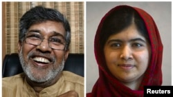 FILE - This year's Nobel Peace Prize winners, Indian children's right activist Kailash Satyarthi, left, and Pakistani schoolgirl activist Malala Yousafzai.