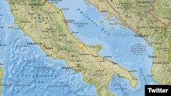 Mapa de Italia que muestra la región central del país que fue estremecida por un terremoto de magnitud 5,2 el jueves 16 de agosto de 2017. : Imagen: @AccuWeather.