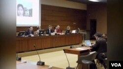 聯合國人權理事會在瑞士日內瓦召開會議,討論中國西藏自治區等少數民族地區的侵犯人權問題。(視頻截圖)