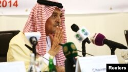 FILE - Saudi Foreign Minister Prince Saud al-Faisal addresses a news conference following a meeting of the Organization of Islamic Cooperation (OIC), on the situation in the Gaza Strip in Jeddah, Aug. 12, 2014.