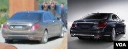 지난 4일 북한 김정은 국무위원장이 찍힌 사진에 등장한 승용차(왼쪽)와 독일 벤츠사 웹사이트에 실린 S시리즈 차량의 뒷모습이 일치한다.