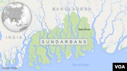 Bản đồ khu vực Sundarbans, Bangladesh.