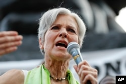 FILE - Dr. Jill Stein, presumptive Green Party presidential nominee, speaks at a rally in Philadelphia, July 27, 2016, during the third day of the Democratic National Convention.