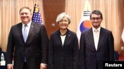 Ngoại trưởng Hàn Quốc Kang Kyung Wha gặp gỡ người đồng cấp Mỹ và Nhật Bản hôm 14/6