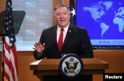 U.S. Secretary of State Pompeo addresses news conference at the State Department