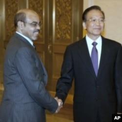 Frayim ministan Ethiopia Meles Zenawi tare da Frimiyan kasar China Wen Jiabao