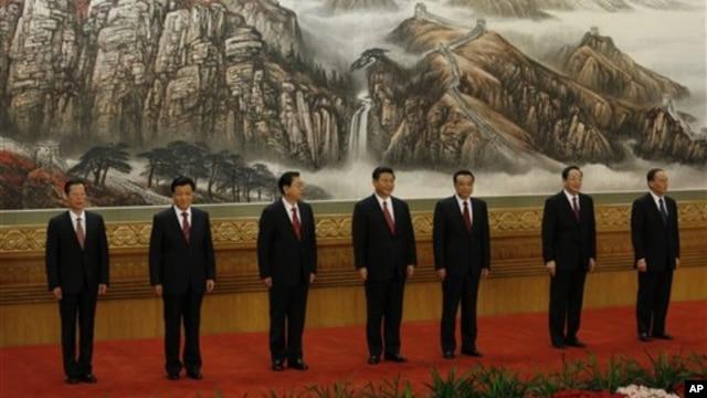 Sabbin shugabannin kasar China a lokacin da ake gabatar da su yau alhamis a Babban Zauren Taron Al'umma a Beijing