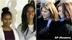 From left, Sasha and Malia Obama, and Jenna and Barbara Bush.