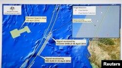 Đồ họa trên màn hình TV cho thấy các khu vực tìm kiếm hiện nay, ngày 9/4/2014.