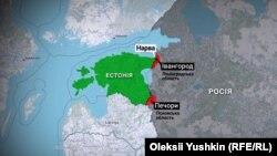 Нині російські території Естонії (відмічені червоним кольором), повернути які вимагає спікер парламенту Естонії Хенн Пиллуаас