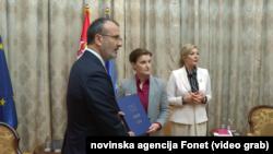 Premijerka Srbije Ana Brnabić sa šefom Delegacije EU u Srbiji Sem Fabricijem, Foto: video grab