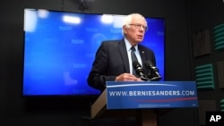 Democratic presidential candidate Bernie Sanders prepares to speak for a video to supporters at Polaris Mediaworks in Burlington, Vermont, June 16, 2016.