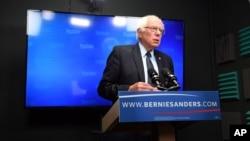 Mgombea utezi wa chama cha Democratic Bernie Sanders akizungumza katika mkutano kwenye jimbo la Virginia.