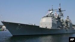 지난 2006년 미국 해군의 사일로함정이 일본 요코스카 항에 정박해 있다. (자료사진)