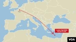 EgyptAir flight 804 flight path map