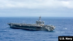 U.S. President Donald Trump has pledged to stop North Korea's stated plans to develop a nuclear missile capable of reaching the United States. The U.S. Navy recently sent a strike group, led by the USS Carl Vinson aircraft carrier, to waters near the Korean Peninsula as a show of force to North Korea.
