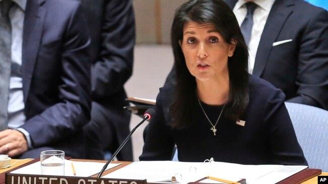 """Đại sứ Mỹ tại LHQ Nikki Haley hôm 4/9 nói rằng Bắc Hàn """"đã tát vào mặt tất cả mọi người""""."""