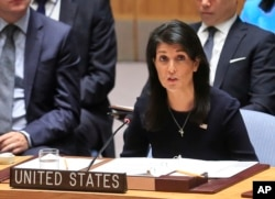 FILE - United Nations U.S. Ambassador Nikki Haley addresses a U.N. Security Council meeting on North Korea, Sept. 4, 2017 at U.N. headquarters.