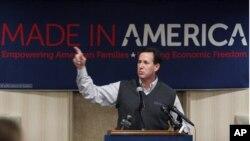 20일, 미시간 주에서 선거 유세중인 릭 샌토럼 후보
