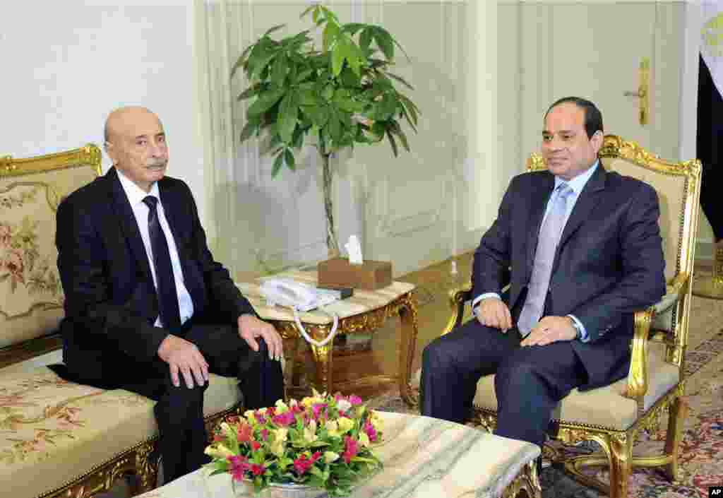 Speaker of the Libyan Parliament Ageila Saleh Eissa (left) meets Egyptian President Abdel-Fattah el-Sissi at the presidential palace in Cairo, Aug. 26, 2014.