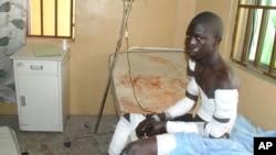 A victim of a Boko Haram attack receives treatment at a hospital, in Maiduguri, Nigeria, Dec. 28, 2015.