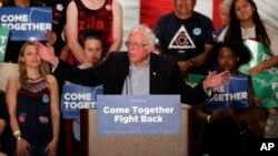 U.S. Sen. Bernie Sanders speaks at a Democratic National Committee rally, April 21, 2017, in Mesa, Ariz.