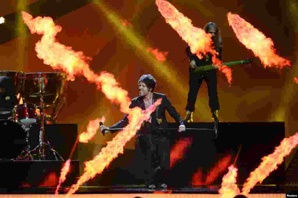 Albania's Adrian Lulgjuraj & Bledar Sejko perform during dress rehearsals for the second semi-final at the 2013 Eurovision Song Contest at the Malmo Opera Hall in Malmo, Sweden. The finals of the contest will be held on May 18.