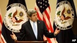 Джон Керри во время выступления в Университете Вирджинии. Шарлотсвилль, 20 февраля 2013 года