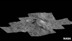 This side-perspective view of Ceres' mysterious mountain Ahuna Mons was made with images from NASA's Dawn spacecraft.