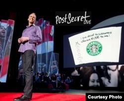 Some secrets sent to Frank Warren were written on objects, such as paper coffee cups. (Photo courtesy of Frank Warren)