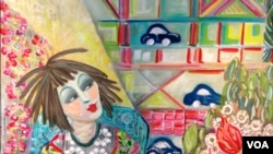 Lukisan tatakan kue Yaya karya Chryssa Wolfe (Julie Taboh/VOA)