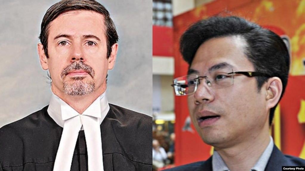 """香港区域法官杜大卫(左) """"红二代""""蔡小心(右)(博闻社图片 )"""