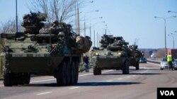 NATO-ს მძიმე ტექნიკის გადასროლა აღმოსავლეთ ევროპაში
