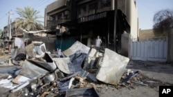 Hiện trường sau một vụ đánh bom tại Baghdad, ngày 3/7/2013.