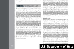 Phúc trình buôn người 2020 của Bộ Ngoại giao Hoa Kỳ viết về Việt Nam. Photo DOS