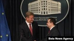 Evropski komesar Štefan File i premijer Srbije Ivica Dačić