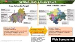 """Rencana Optimalisasi Lahan Rawa di Kalimantan Tengah dan Sumatera Selatan seluas 400 ribu hektare yang dipaparkan oleh Menteri Pertanian Syahrul Yasin Limpo dalam diskusi virtual """"Stok Beras di Masa Pandemi dan Setelahnya"""", 19 Mei 2020. (Foto: Screenshot)"""