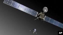 Ilustración de Rosetta, la nave de la Agencia Espacial Europea, en el momento de desplegar la sonda Philae.