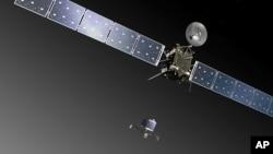 艺术家绘图:欧洲航天局罗塞塔号无人彗星空间探测器