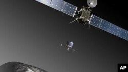 រូបក្រាហ្វិកផ្តល់ឲ្យដោយទីភ្នាក់ងារអវកាសអឺរ៉ុប (ESA) នេះបង្ហាញពីរូបសេណារីយ៉ោ (ទៅអនាគត) មួយដែលយានផ្កាយរណប Rosetta បញ្ចេញយានចុះចត Philae ឲ្យចុះចតលើផ្កាយដុះកន្ទុយ 67P/Churyumov–Gerasimenko នៅខែវិច្ឆិកាខាងមុខ។