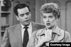 "Lucille Ball, right, and Desi Arnaz star as Lucy and Ricky Ricardo in the TV series ""I Love Lucy""."