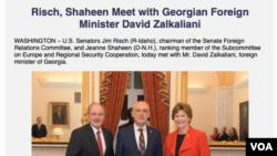 Сенаторы США Джеймс Риш и Джин Шахин встречают министра иностранных дел Грузии Давида Заклаинаи в Вашингтоне. Архивное фото.