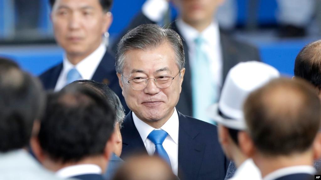 韓國總統文在寅2018年8月15日出席紀念韓國擺脫日本佔領73週年的活動
