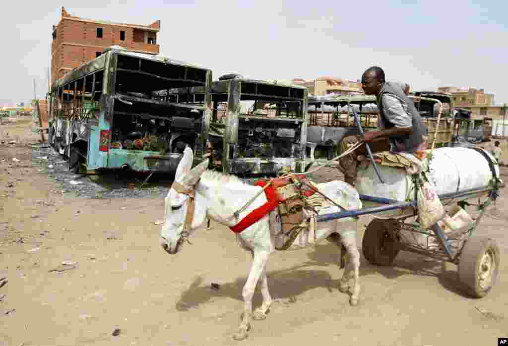 A man on a donkey cart passes burned buses following rioting and unrest in Khartoum, Sudan, Sept. 26, 2013.