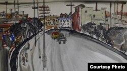 Э.Гороховский. «Новосибирск». 1967. Акварель на бумаге. Courtesy: Kolodzei Art Foundation