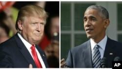 바락 오바마(오른쪽) 미국 대통령과 도널드 트럼프 대통령 당선인.