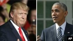 도널드 트럼프 미국 대통령 당선인(왼쪽)과 바락 오바마 미국 대통령. 트럼프 당선인은 10일 백악관에서 오바마 대통령과 만나 정권이양 문제를 논의할 예정입니다.
