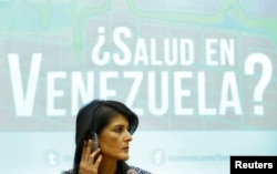 U.S. Ambassador to the United Nations Nikki Haley attends a side-event of the Human Rights Council on the situation in Venezuela at the United Nations, in Geneva, Switzerland June 6, 2017.
