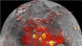 A radar image of Mercury's north polar region acquired by the Arecibo Observatory in Puerto Rico is shown superposed on a mosaic of Mercury MESSENGER images of the same area in this NASA handout photo released November 29, 2012. Shown in red are areas of Mercury's north polar region that are in shadow in all images acquired by MESSENGER to date. Since their discovery in 1992, these polar deposits have been hypothesized to consist of water ice trapped in permanently shadowed areas near Mercury's north and south pole, but other explanations for the polar deposits have also been suggested.